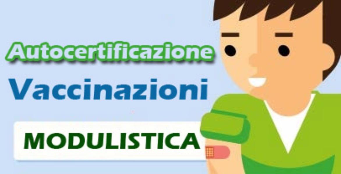Modulo autocertificazione vaccinazioni